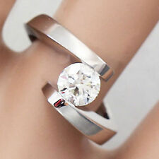 14K SOLID WHITE GOLD ROUND DIAMOND ENGAGEMENT RING TENSION SET 1.20CT