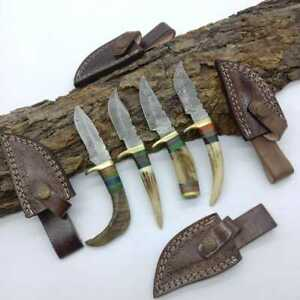 """6""""MH KNIVES RAM & STAG HORN DAMASCUS STEEL LOT OF 4 HUNTING/SKINNER KNIFE LOT-06"""