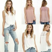 AU Summer Casual Women Lace Chiffon Blouse Sleeveless Vest Tank T-Shirt Tops CI