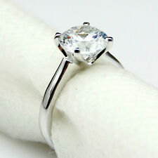 1 Carat Diamond Solid Gold White Yellow 9K Solitaire Simple Set Engagement Ring