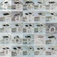 925 Sterling Silver Initial Alphabet Letter A to Z Bead Charm European Bracelet
