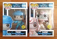Funko Pop Vinyl Figures #489 & #490 - TRON and SARK w/ Box Protectors (Disney)