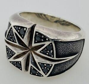 David Yurman Men's North Star Black Diamond Ring Size 10 Sterling Silver 925