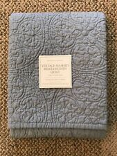 Restoration Hardware Vintage-Washed Belgian Linen King Pillow Sham Pacific Blue