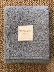 Restoration Hardware Vintage-Washed Belgian Linen King Pillow Sham Pacific Blue