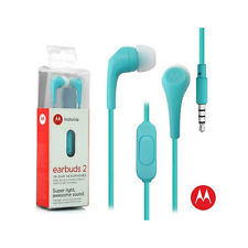 Motorola Hands Free 3.5mm Earbuds 2 Premium Stereo W/Remote and Mic Light Blue