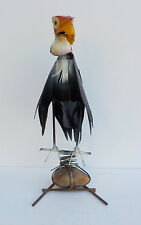 YARD ART METAL BUZZARD SULPTURE WITH ROCK BASE VULTURE 14 1/2""