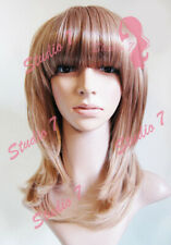W69 Light Brown Blonde Ombre Layered Straight Fringe Wig Synthetic studio7-uk