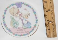 """Precious Moments 1992 A Sister is Someone Who Cares 4"""" Porcelain Plate"""