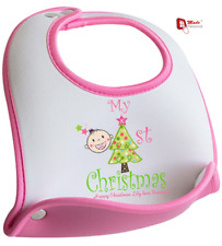 PERSONALISED MY FIRST CHRISTMAS BIB GIRL BIB- Cute Design - Any Name & Message