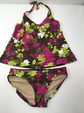 Gap Maternity Swimsuit 2 Piece Tankini Halter Brown Floral Size XS Top S Bottom