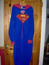 Mens Superman Micropolar Con Capucha Todo en Uno-Tamaño Mediano Azul/Rojo