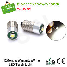 2 X E10 Flashlight Bulb CREE 3W Emergency Light Lamps LED 6000K 3V 6V 12V 18V DC
