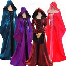 Lace-up Long Dress Party Gown Flare Sleeve Medieval Women Cosplay Fancy Hooded
