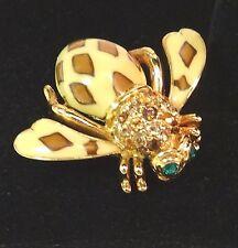 Brooch Joan Rivers Enamel Crystal Stones Joan of the Jungle Leopard Bee Pin