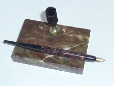 VINTAGE marbre PORTE STYLO à pompe encre Plume 14 karat 14K gold PEN HOLDER or