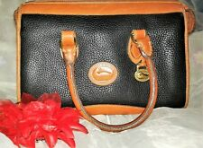 Vintage Dooney & Bourke Handbag Black Pebble Leather Double straps Satchel