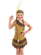 Indian Squaw Girl Costume Medium - Kids Native American Fancy Dress Party Outfit