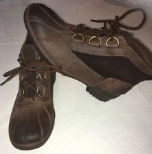 UGG Women's Heather Waterproof Leather Rain Boots 1095156 Chestnut Size 9.5