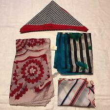 4 Scarves Red Blue Stripe Flower Oblong White Turquoise Vtg Scarf Lot Triangle