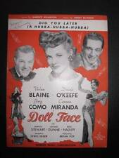 Dig You Later A Hubba Sheet Music Vintage 1945 Doll Face Perry Como J McHugh (O)