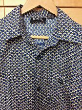 Dino Men's Retro Mod Blue & Green Geometric Ovals Button Front Club Shirt L