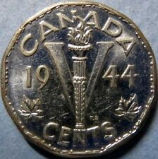 *1944 Vintage CANADA  5 CENTS WAR COIN, Very Fine Circulated KING GEORGE V COIN