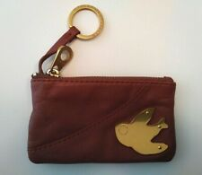 MARC JACOBS Petal to the Metal Gold Bird Leather Brown Key Pouch Coin Purse Zip