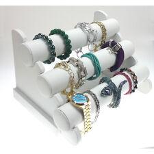 3er Schmuckständer Armbandständer Schmuckhalter Uhrenständer Weiß Kunstleder