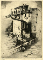 Bennett, Old Town, Antibes, Côte d'Azur – Early 20th-century etching print