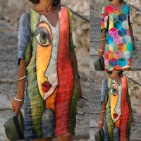 Womens Abstract Face Printed Casual T-Shirt Dress Short Sleeve V-neck Midi Skirt