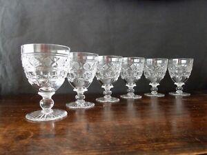 6 Antique Tudor Crystal Goblets Glasses, Signed h12,5cm