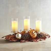 NEW  IN BOX PIER 1 $149 HOLIDAY WINTER CENTERPIECE 3 HURRICANE CANDLE  SET