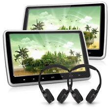 """2x 10.1"""" Auto Poggiatesta Lettore Monitor DVD Player 1024*600 HDMI Gioco+2Cuffia"""