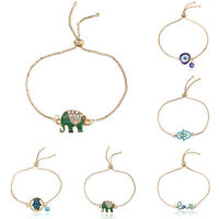 Fashion Women Crystal Rhinestone Cartoon Pendant Bangle Bracelet Chain Jewelry