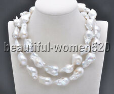Z7748 28mm White BAROQUE KESHI REBORN PEARL NECKLACE 32inch
