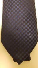 Authentic Louis Vuitton Damier Tie 100% Silk Navy Blue