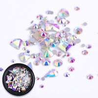AB Color 3D Nail Art Rhinestones Flat Back Mixed Shape  Decoration Tips