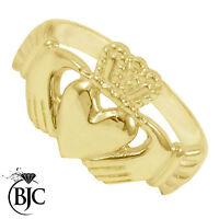 BJC® 9ct Yellow gold Claddagh Irish Mens Ring Multiple Sizes engagement R175