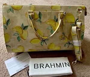 NWT Brahmin Anywhere Weekender Duffel Bag Desert Amalfi Embossed Leather $515