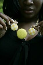 Yellow Fabric Vintage Brass Framed Buttons Gold Plated Chain Necklace Handmade