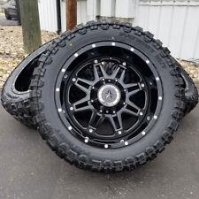 "20x10 Gloss Black Lonestar Outlaw Wheels 33"" M/T Tires Chevy GMC 2500 Rims 8x180"