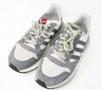 Adidas mens Trainers Grey Stripe Runfalcon Red Grey Mix Fashion Style Sz 7 UK