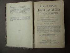 Libri Antichi Geografia Schiaparelli Manuale Geografia Statistica Torino 1873