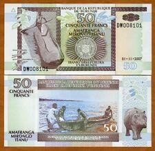 Burundi, 50 Francs, 2007, Pick 36 (36g), UNC > Hippo