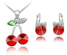 Amazing Red Cherries Jewellery Set Round Earrings & Pendant Necklace S521
