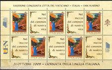 EMISSIONE CONGIUNTA 2009 VATICANO - ITALIA Minifoglio Lingua MNH**