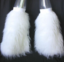 UV GLOW WHITE FLUFFIES FLUFFY LEGWARMERS BOOT COVERS