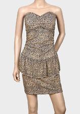 Leopard Animal Print Short Tiered Sleeveless Bodycon Peplum Party Dress 10 - 18