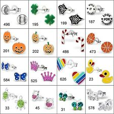 Clearance !! You pick any 4 pairs 925 Sterling Silver Kids Stud Earrings Ex4